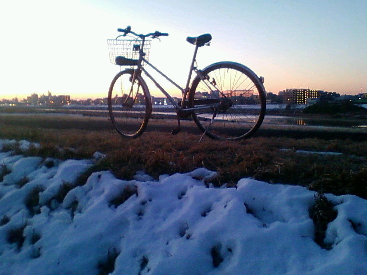 残雪多摩川